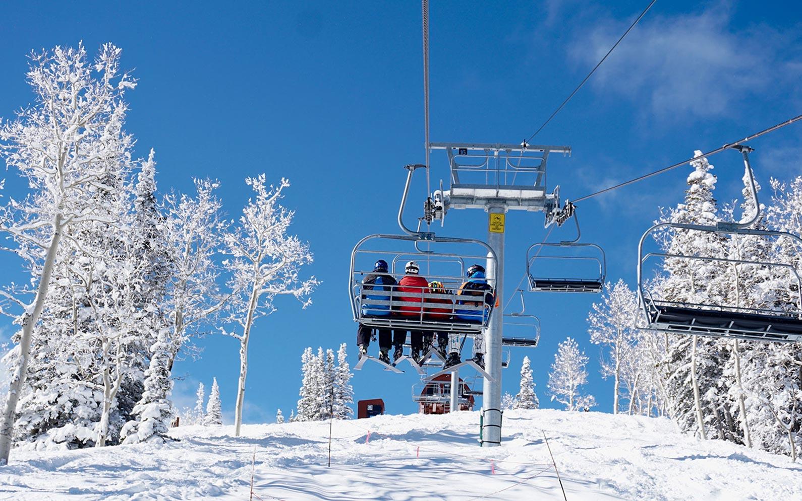 Riding the ski lift to the slopes